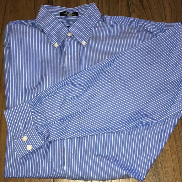 Blue and White Striped Dress Shirt